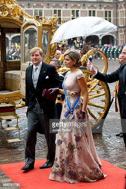 King Willem-Alexander , and Queen Maxima of The Netherlands arrive in The Golden Carriage for Prinsjesdag at The Binnenhof on September 15, 2015 in...