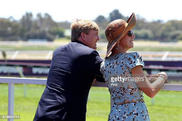 King Willem-Alexander and Queen Maxima of the Netherlands at Ascot Racecourse on Melbourne Cup Day on November 01, 2016 in Perth, Australia. The...