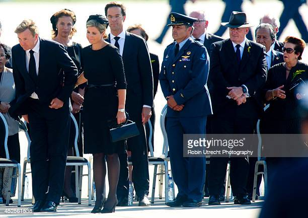 King WillemAlexander and Queen Maxima of The Netherlands attend a ceremony upon the arrivals of a plane from Ukraine carrying the remains of victims...