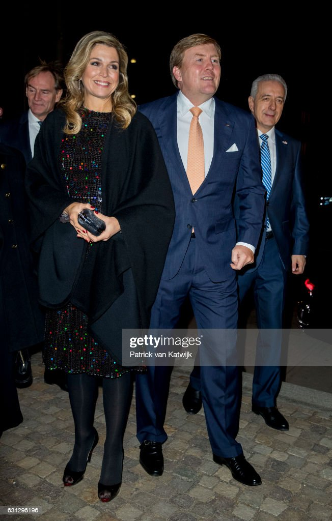 King Willem-Alexander and Queen Maxima of The Netherlands attend an trade dinner in the Kongresshalle am Zoo during their 4 day visit to Germany on February 08, 2017 in Leipzig, Germany.