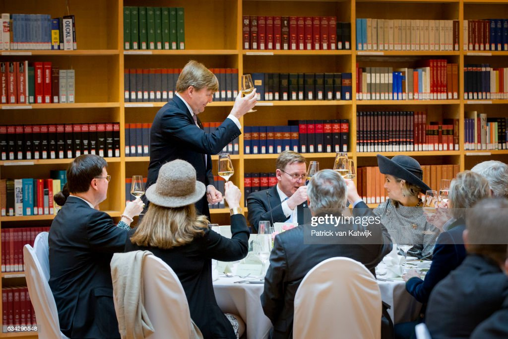 King Willem-Alexander and Queen Maxima of The Netherlands attend an lunch hosted by Prime Minister Bodo Ramelow at the new library during their 4 day visit to Germany on February 08, 2017 in Erfurt, Germany.