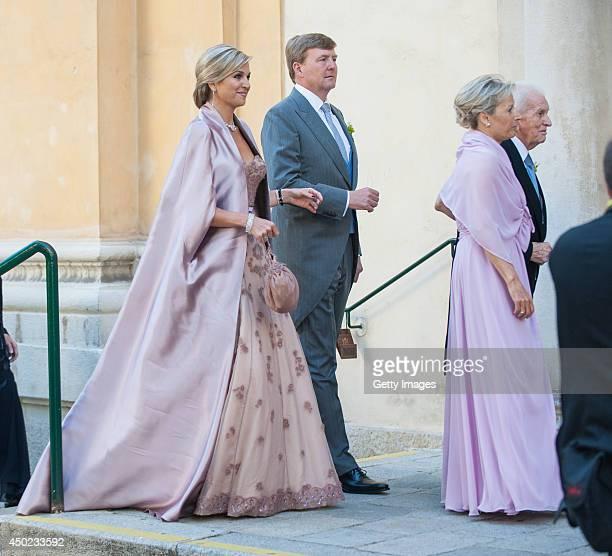 King Willem-Alexander and Queen Maxima of The Netherlands attend Juan Zorreguieta and Andrea Wolf's wedding at palais Liechtenstein on June 7, 2014...