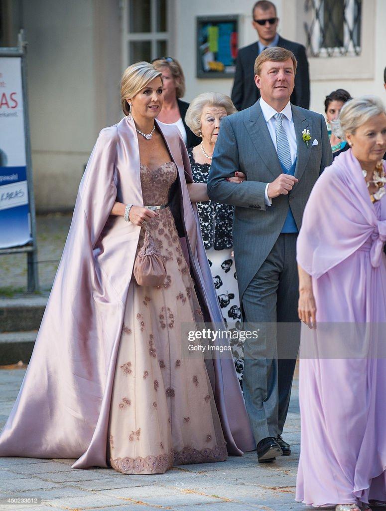 King Willem-Alexander and Queen Maxima of The Netherlands attend Juan Zorreguieta and Andrea Wolf's wedding at palais Liechtenstein on June 7, 2014 in Vienna, Austria.