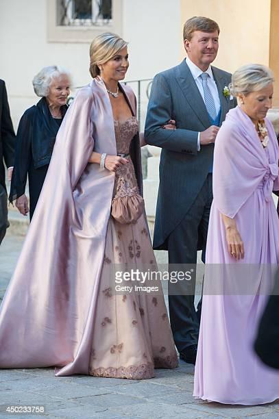 King WillemAlexander and Queen Maxima of The Netherlands attend Juan Zorreguieta and Andrea Wolf's wedding at palais Liechtenstein on June 7 2014 in...