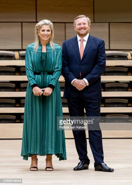 King Willem-Alexander and Queen Maxima of The Netherlands attend the opening of Amare cultural center on September 2, 2021 in The Hague, Netherlands.