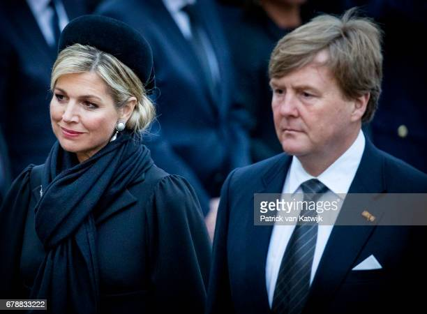 King WillemAlexander and Queen Maxima of The Netherlands attend the National Remembrance ceremony at the National Monument on Dam Square on May 04...
