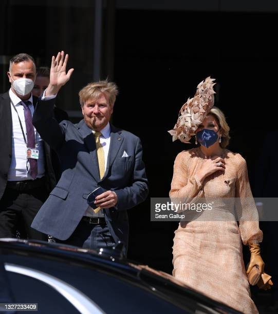 King Willem-Alexander and Queen Maxima of the Netherlands depart after visiting the Reichstag on July 06, 2021 in Berlin, Germany. Their Royal...
