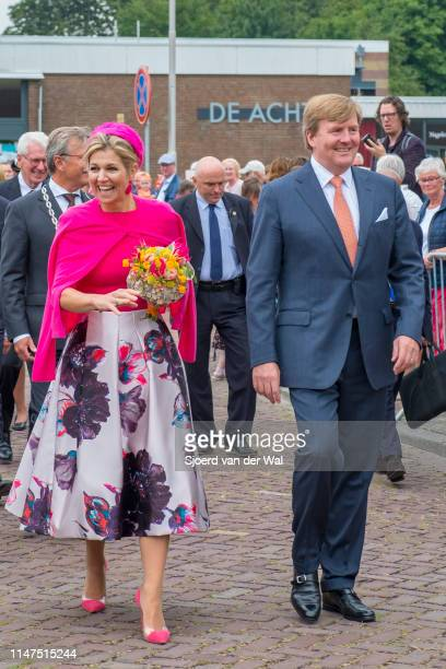 King WillemAlexander and Queen Maxima of The Netherlands during a visit to the village of Nagele in the Flevoland Province on April 27 2017 in Nagele...