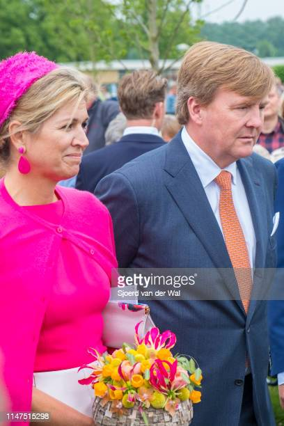 King Willem-Alexander and Queen Maxima of The Netherlands during a visit to the village of Nagele in the Flevoland Province on April 27, 2017 in...