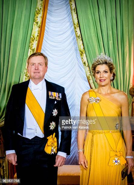 King WillemAlexander and Queen Maxima of The Netherlands during the official picture at the state banquet in the Grand Ducal Palace on May 23 2018 in...