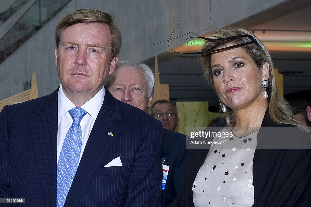 King Willem-Alexander and Queen Maxima Of The Netherlands during their visit to the Polish-Dutch Economic Forum 'Innovation: Solutions for a common future' as part of their trip to Poland on June 25, 2014 in Warsaw, Poland.