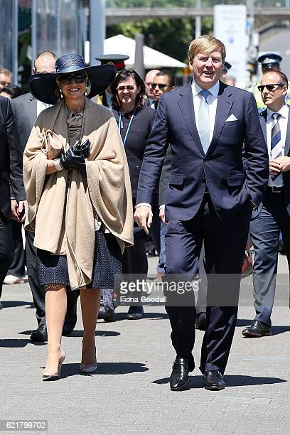 King WillemAlexander and Queen Maxima of The Netherlands during their visit to the Spirit of New Zealand Youth Training Vessel at Princes Wharf on...