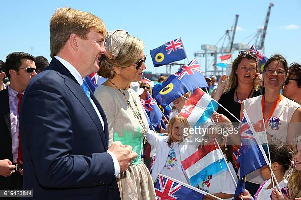 King Willem-Alexander and Queen Maxima of the Netherlands greet well wishers at Victoria Quay on October 31, 2016 in Fremantle, Australia. The Dutch...