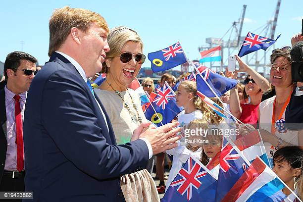 King WillemAlexander and Queen Maxima of the Netherlands greet well wishers at Victoria Quay on October 31 2016 in Fremantle Australia The Dutch King...