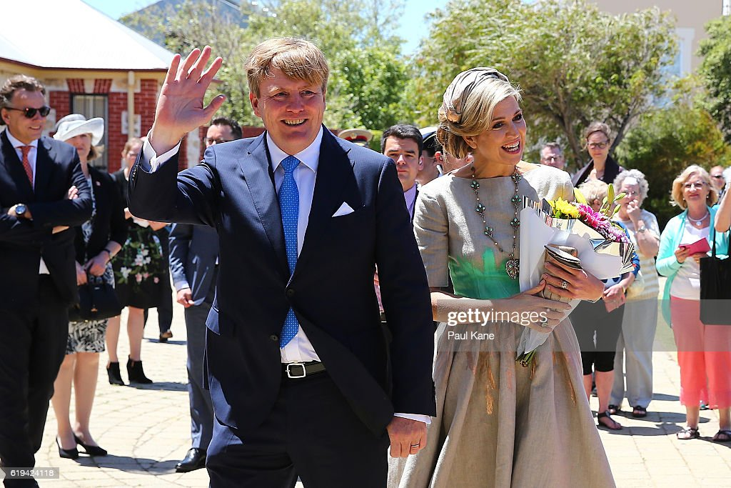 King Willem-Alexander and Queen Maxima of the Netherlands greet well wishers on arrival at the Shipwreck Galleries on October 31, 2016 in Fremantle, Australia. The Dutch King and Queen are in Perth to commemorate the 400th anniversary of the landing of Dutch explorer Dirk Hartog in Western Australia.