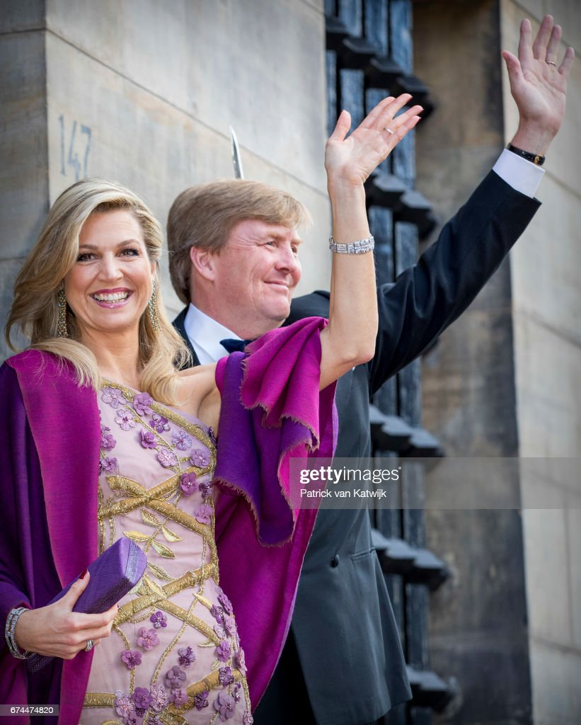 Festive Dinner And Public Opening Of Royal Palace To  Mark King Willem-Alexander's 50th Birthday In Amsterdam : News Photo
