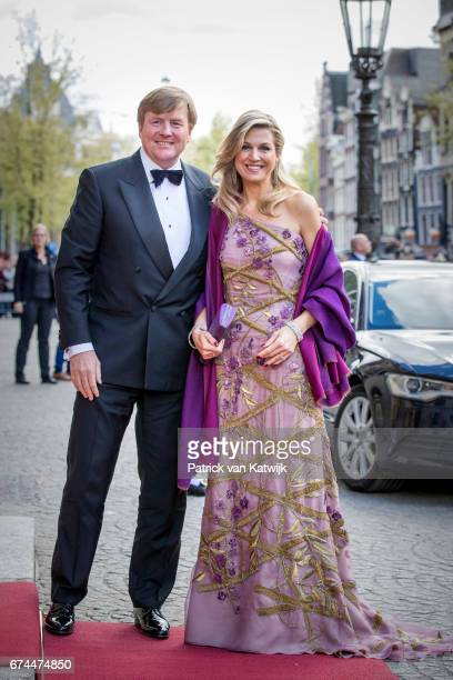 King Willem-Alexander and Queen Maxima of The Netherlands host a dinner for 150 Dutch people to celebrate his 50th birthday in the Royal Palace on...