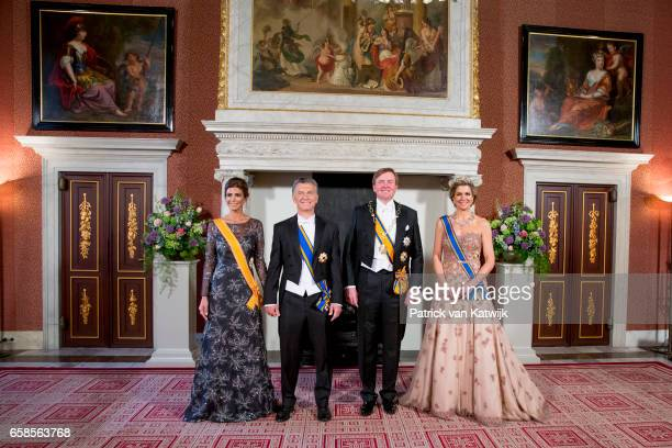 King Willem-Alexander and Queen Maxima of The Netherlands host an state banquet for President Mauricio Macri of Argentine and his wife Juliana Awada...