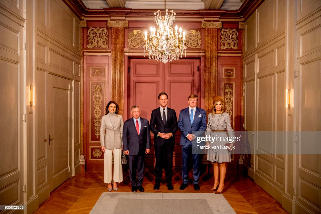 King Willem-Alexander and Queen Maxima of The Netherlands, King Abdullah of Jordan and Queen Rania of Jordan with Prime minister Mark Rutte during the lunch offered by the government on March 21, 2018 in The Hague, Netherlands.