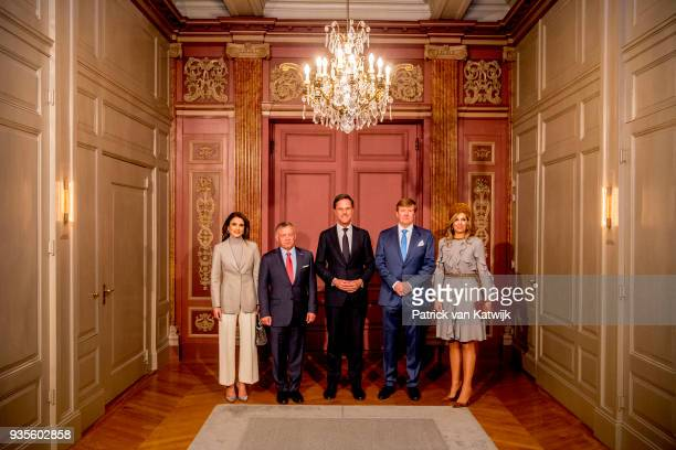 King WillemAlexander and Queen Maxima of The Netherlands King Abdullah of Jordan and Queen Rania of Jordan with Prime minister Mark Rutte during the...