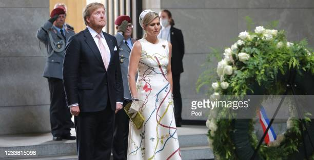 King Willem-Alexander and Queen Maxima of the Netherlands lay a wreath at Neue Wache on July 5, 2021 in Berlin, Germany. Their Royal Highnesses are...