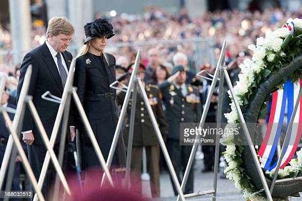 King Willem-Alexander and Queen Maxima of The Netherlands lay a wreath on Dam Square on Remembrance Day on May 4, 2013 in Amsterdam, Netherlands. On...