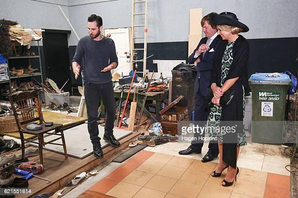 King WillemAlexander and Queen Maxima of the Netherlands learn about foley sound effects during a visit to Park Road Post on November 7 2016 in...