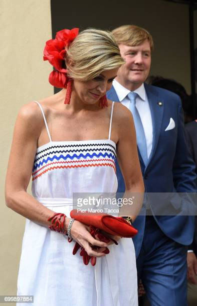 King WillemAlexander and Queen Maxima of The Netherlands leaves the Cenacolo Vinciano in the Refectory of the Convent of Santa Maria delle Grazie on...