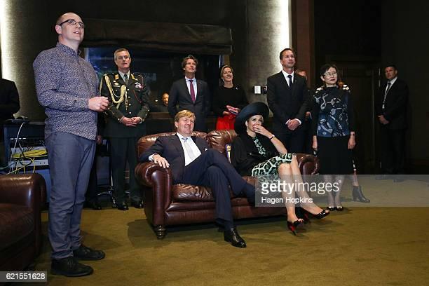 King WillemAlexander and Queen Maxima of the Netherlands listen to a sound recording of the Dutch Ambassador to New Zealand Robert Zaagman during a...