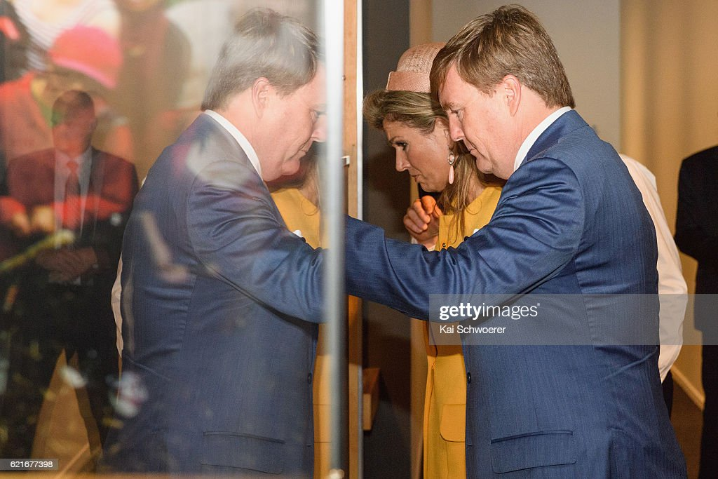King Willem-Alexander and Queen Maxima of the Netherlands look on during a visit to Quake City on November 8, 2016 in Christchurch, New Zealand. The Dutch King and Queen are on a three-day tour of New Zealand, visiting Wellington, Christchurch and Auckland.