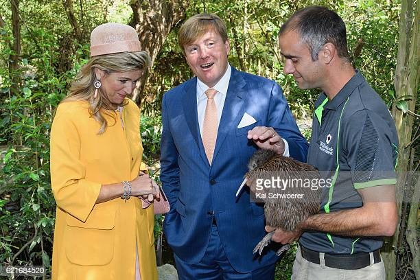 King WillemAlexander and Queen Maxima of the Netherlands meet a Kiwi named Elvis during a visit to Willowbank Wildlife Reserve on November 8 2016 in...