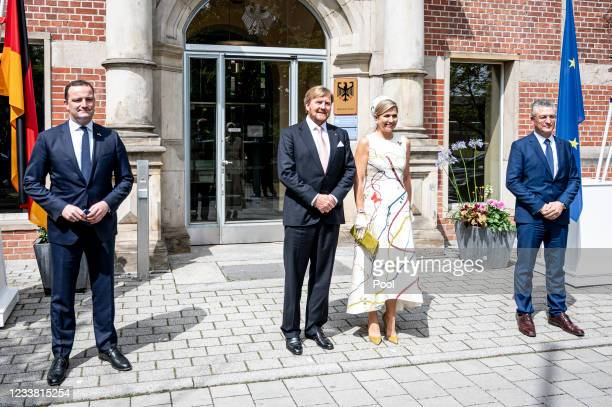 King Willem-Alexander and Queen Maxima of the Netherlands meet Jens Spahn , Federal Minister of Health, and Lothar Wieler, President of the Robert...