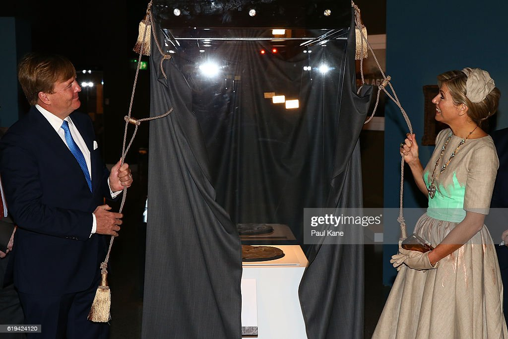 King Willem-Alexander and Queen Maxima of the Netherlands officially unveil the Dirk Hartog dish at the Western Australian Maritime Museum in the Fremantle on October 31, 2016 in Fremantle, Australia. The Dutch King and Queen are in Perth to commemorate the 400th anniversary of the landing of Dutch explorer Dirk Hartog in Western Australia.