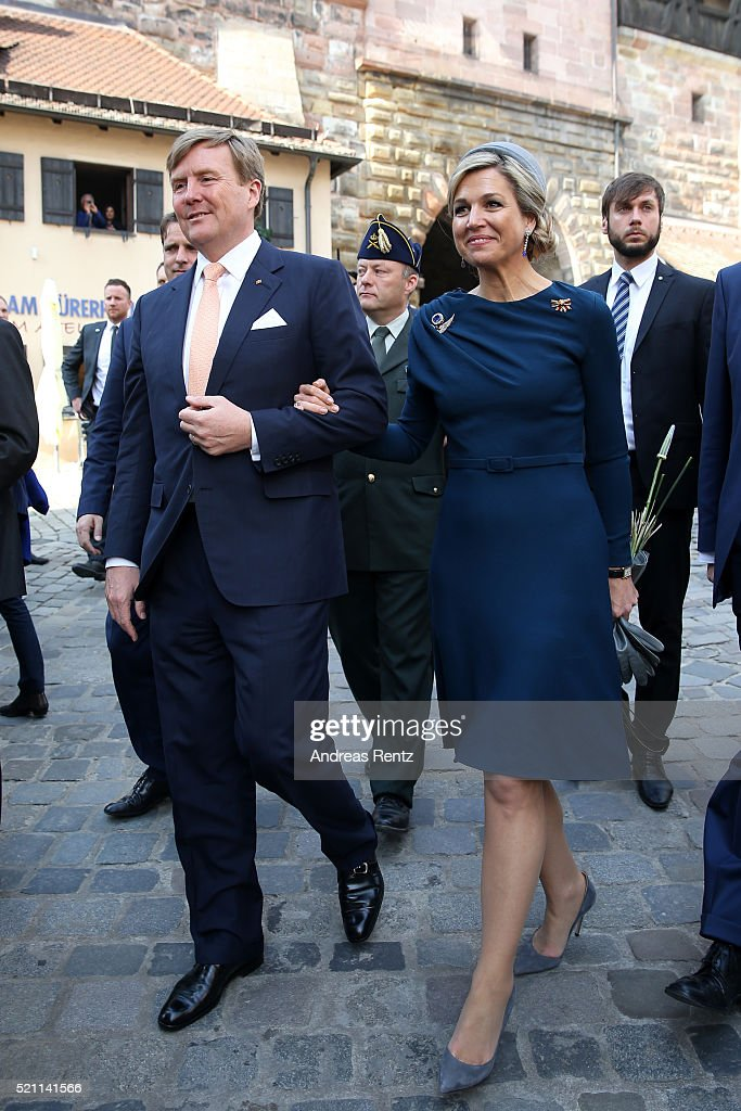 King Willem-Alexander and Queen Maxima of the Netherlands on their way to Albrecht Duerer's House on April 14, 2016 in Nuremberg, Germany. King Willem-Alexander and Queen Maxima are on a two-day visit in Bavaria to strengthen the relationship between Bavaria and the Netherlands.