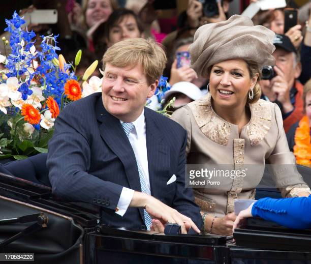 King Willem-Alexander and Queen Maxima of the Netherlands participate in activities during an official visit to downtown Joure on June 14, 2013 in...