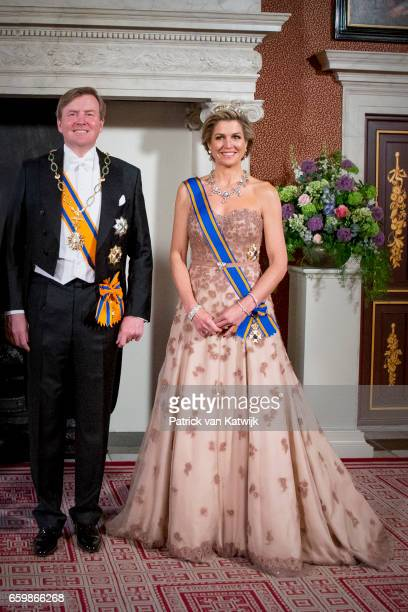 King WillemAlexander and Queen Maxima of The Netherlands pose for an official photo ahead the state banquet for the Argentinean president in...