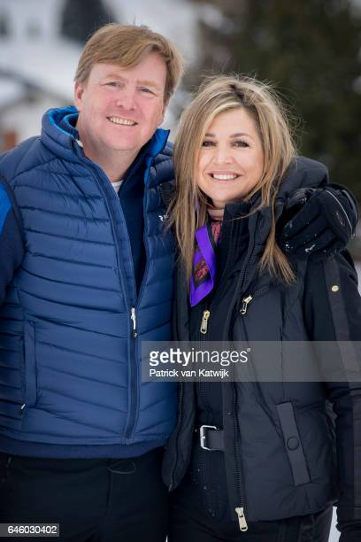 King WillemAlexander and Queen Maxima of The Netherlands pose for the media during their annual wintersport holidays on February 27 2017 in Lech...
