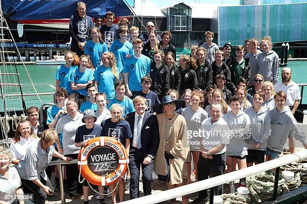 King WillemAlexander and Queen Maxima of The Netherlands pose with staff and students on their visit to the Spirit of New Zealand Youth Training...