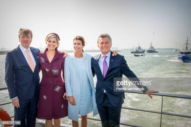 King WillemAlexander and Queen Maxima of The Netherlands President Mauricio Macri and his wife Juliana Awada during an boat trip in the harbor of...
