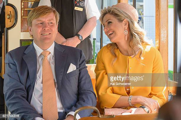 King WillemAlexander and Queen Maxima of the Netherlands reacting during a tram ride on November 8 2016 in Christchurch New Zealand The Dutch King...