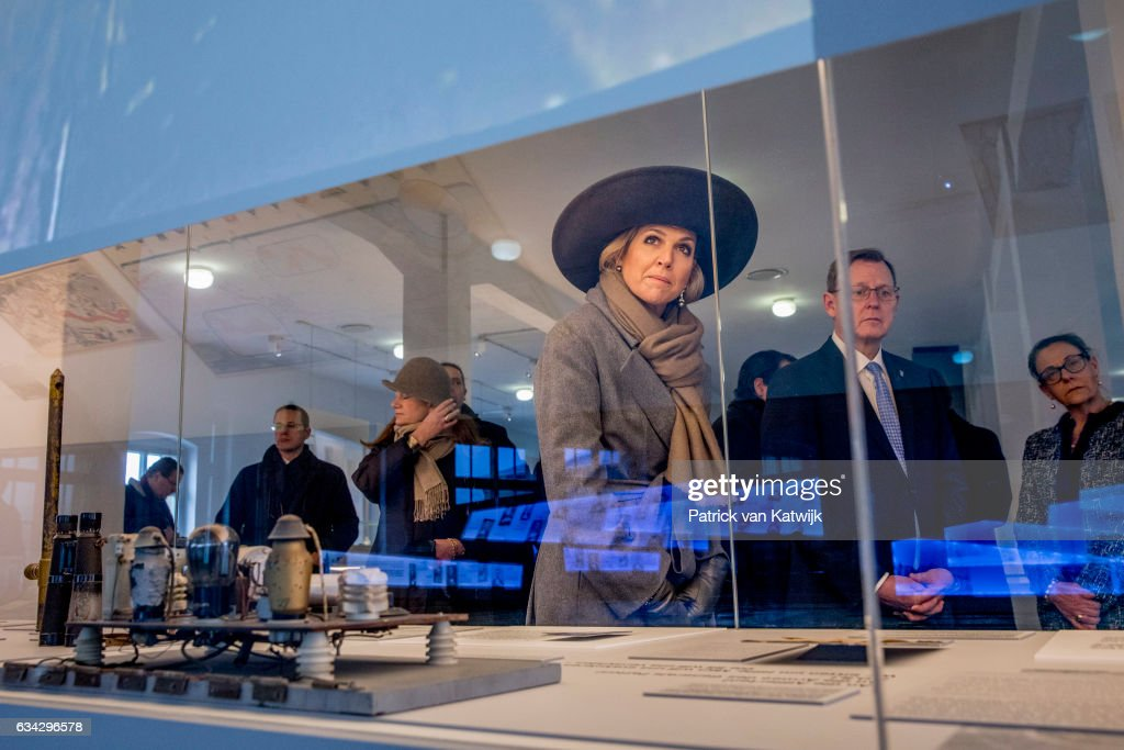 King Willem-Alexander and Queen Maxima of The Netherlands visit concentration camp Buchenwald during their 4 day visit to Germany on February 08, 2017 in Weimar, Germany.