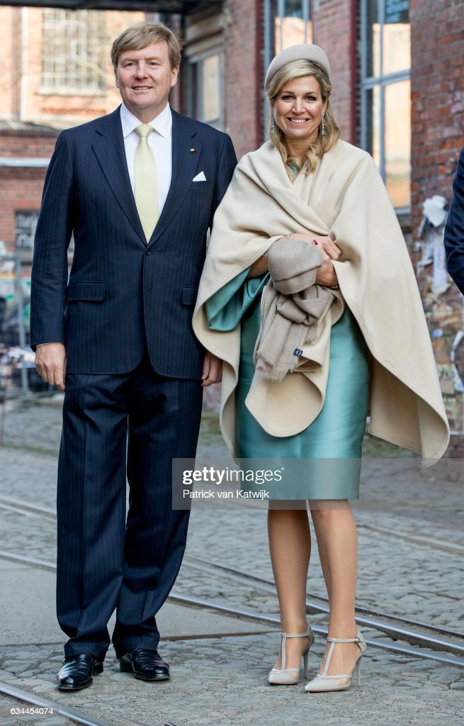 King Willem-Alexander and Queen Maxima of The Netherlands visit Spinlab start up accelerator during their 4 day visit to Germany on February 09, 2017 in Leipzig, Germany.