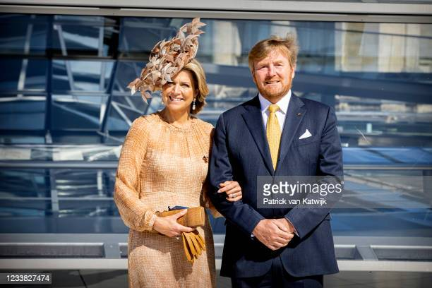 King Willem-Alexander and Queen Maxima of the Netherlands visit the Reichstag on July 6, 2021 in Berlin, Germany. Their Royal Highnesses are paying...