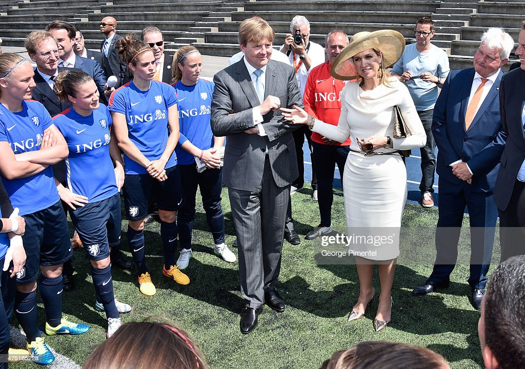 King Willem-Alexander and Queen Maxima of the Netherlands visit the FIFA Dutch Womens National team at Monarch Park Stadium during the state visit to Canada on May 29, 2015 in Toronto, Canada.