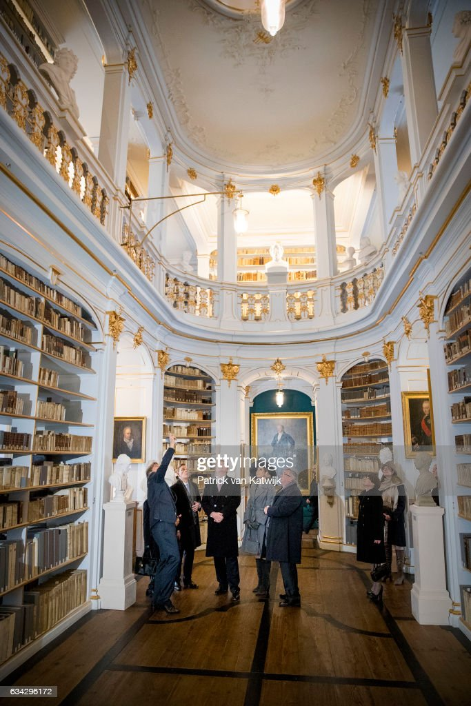 King Willem-Alexander and Queen Maxima of The Netherlands visit the Hertogin Anna Amalia Bibliotheek (library) during their 4 day visit to Germany on February 08, 2017 in Erfurt, Germany.