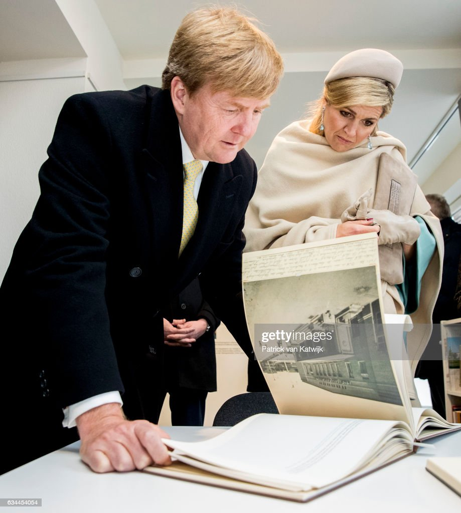 King Willem-Alexander and Queen Maxima of The Netherlands visit the information center about forced labour during their 4 day visit to Germany on February 09, 2017 in Wittenberg, Germany.