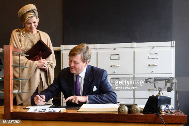 King WillemAlexander and Queen Maxima of the Netherlands visit the Bauhaus on February 10 2017 in Dessau Germany The royal couple are on a working...