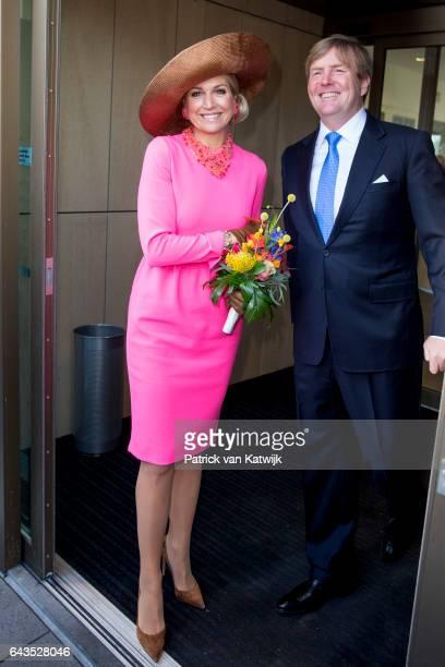 King WillemAlexander and Queen Maxima of The Netherlands visit the town hall in Krimpen aan den IJssel on February 21 2017 in Gouderak Netherlands