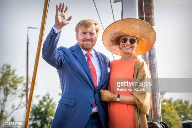 King Willem-Alexander and Queen Maxima of The Netherlands visits sailing school De Veenhoop during the region visit to South East Friesland on...