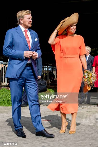 King Willem-Alexander and Queen Maxima of The Netherlands visits cheese farm De Deelen during the region visit to South East Friesland on September...